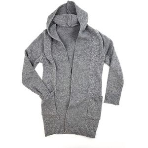 Gray Knit Long Open Hooded Cardigan Small Sweater